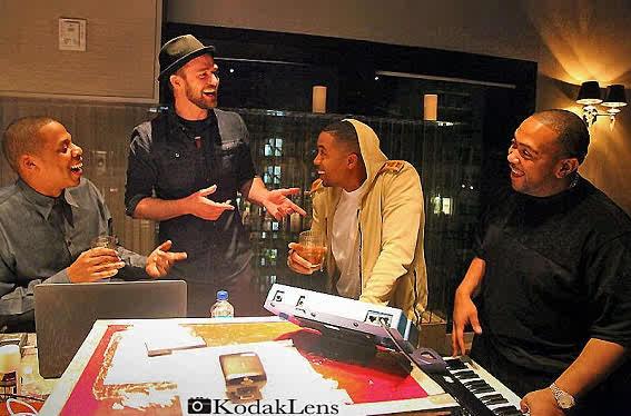 L-R; Jay-Z, Justin Timberlake, Nas and Timbaland
