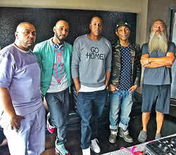 L-R; Timbaland, Swiss Beatz, Jay-Z, Pharella and Rick Rubin